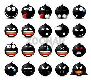 Set of black rounded icons