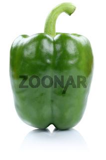 Paprika grün Gemüse seitlich Freisteller freigestellt isoliert
