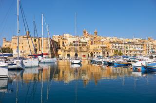 The view of Senglea peninsula over the Dockyard creek. Malta