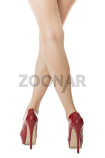 Woman Legs in Elegant Red Shoes