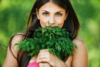 portrait beautiful young woman green dill