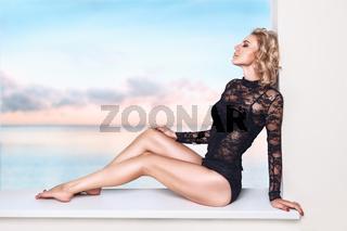 Beautiful woman relaxing in resort