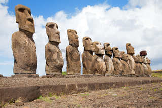 Landscape Easter island with statues