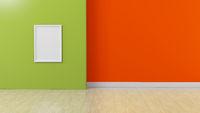 White frame on Green orange colored Interior background