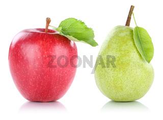 Apfel und Birne Frucht Früchte Obst Freisteller freigestellt isoliert