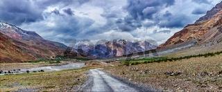 Panorama of road in Himalayas