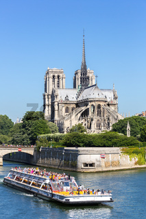 Cathedral Notre Dame Paris with cruise