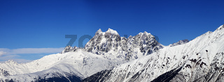 Panoramic view on Mount Ushba in winter at sunny day