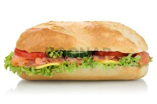 Sandwich Baguette belegt mit Lachs Fisch seitlich Freisteller