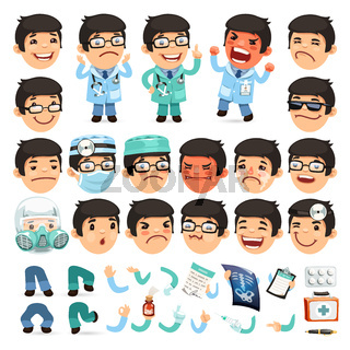 Set of Cartoon Doctor Character for Your Design or Animation