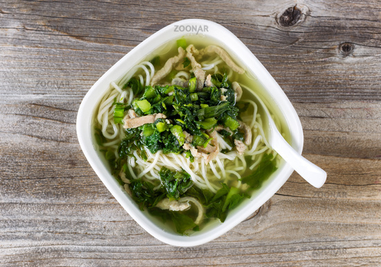 Fresh noodle soup dish ready to eat