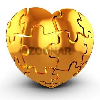 3d golden Heart puzzle