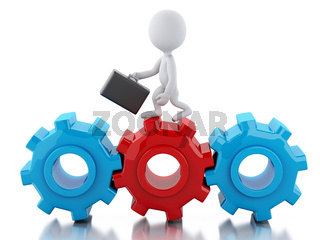 3d White business people with briefcase in gear wheel