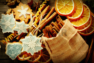 Christmas homemade gingerbread cookie and spices