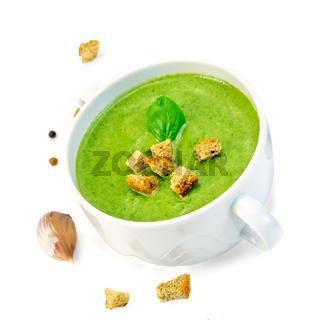 Soup puree with croutons in bowl