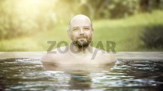 man portrait pool