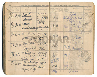 post office recorded delivery book 1931, German Empire
