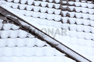 snowy tile roof