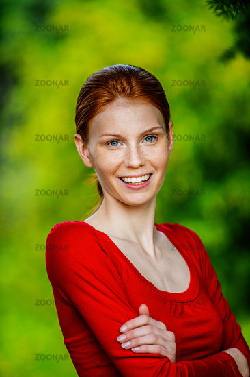 red-haired beautiful young woman