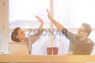 Freelance man and woman