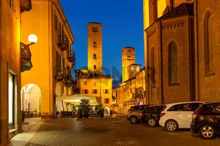 Evening view of Alba, Italy.