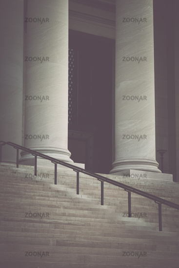 Pillars and Stairs to a Courthouse with Vintage Syle Filter