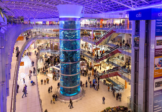 Interior of Aviapark shopping mall in Moscow