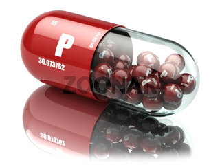 Pills with phosphorus P element Dietary supplements. Vitamin capsules.