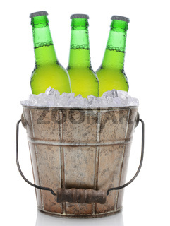 Old Fashioned Beer Bucket With Three Bottles