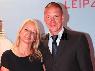 ehemaliger deutscher Fussballer Christian Ziege mit Ehefrau Pia bei 8.GRK Charity 2015 in Leipzig