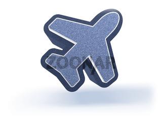 Airplane Shopping Icon in blueish denim look