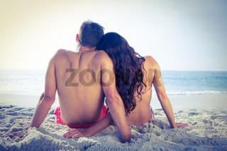 Wear view of couple hugging