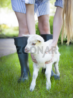 Woman farmer and young goat
