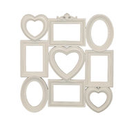 Composition of photo frames of beige color