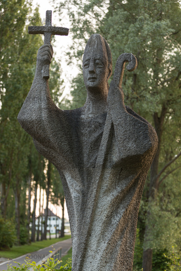 Closeup of statue of Island Saint of Reichenau, Lake Constance, Germany