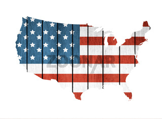 USA Map With Wooden Flag