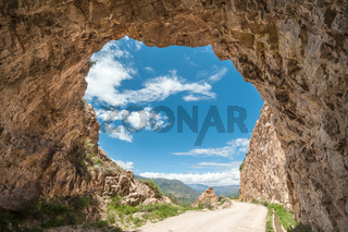 Dirt danger road through the Canyon of the Colca River in southern Peru