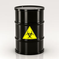 black biohazard barrel