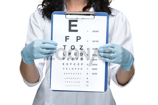 male ophthalmologist with eye chart