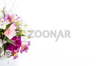 Bouquet from pink and purple gillyflowers with alstroemeria