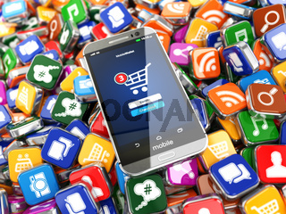 Smartphone apps. Mobile phone on the application software icons background.