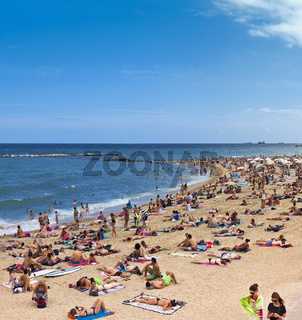 Crowded beach of Barceloneta - Barcelona