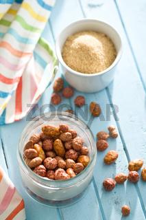 various sugared nuts in jar