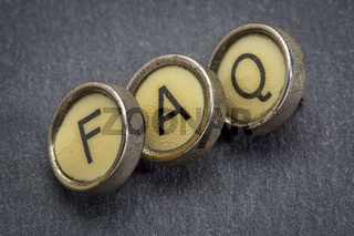 FAQ acronym  in typewriter keys