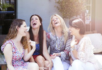Happy group of female friends having fun