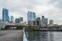 Panoramic view of Seattle Downtown and Aquarium from Pier 62