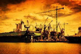 Shipyard. Ship under construction, repair. Industrial, transport.