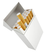 Pack of cigarettes, isolated on white background.