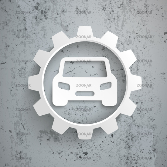 Six Arrows Big White Gear Car Concrete