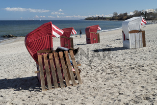 red and white beach chairs